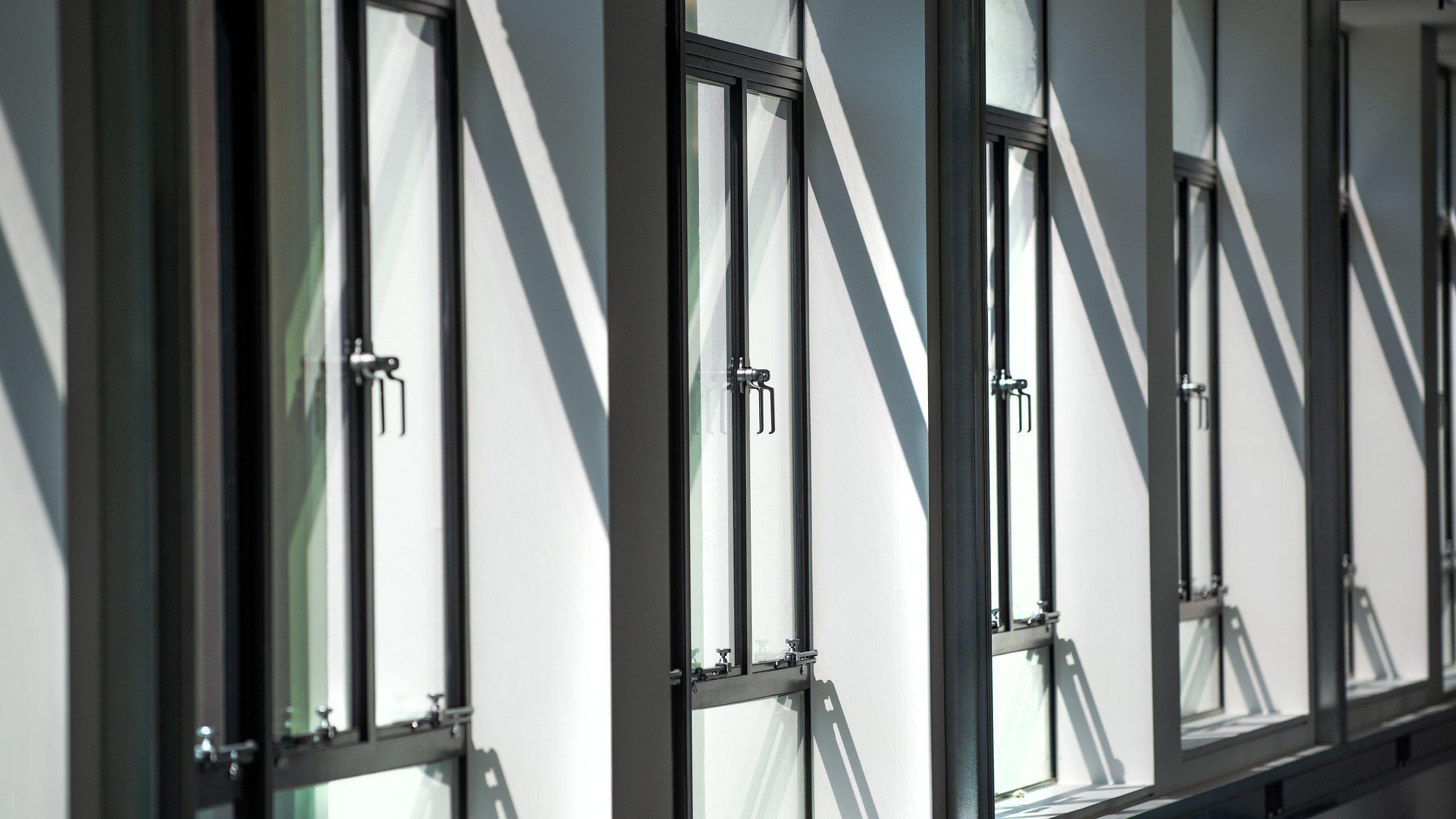 View of multiple multi-point locking metal windows