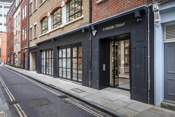 Clement EB24 windows installed at 6 Middle Street in the City of London